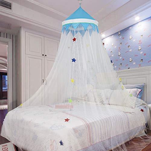 SXJC Mosquitera con Estrellas Luminosas Mosquitera para Cama Instalación Sin Perforaciones Dosel para Cama para Niñas Camas Ideal para Dormitorio Decorativo,Blacktop