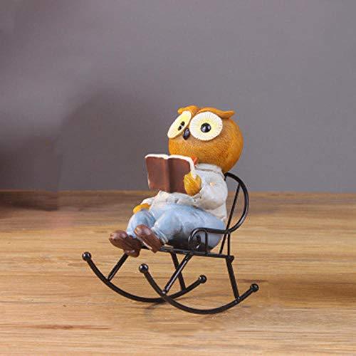 HJKIUY Vintage Owl Model Figurine With Chair Resin Modern Art Figurine Ornament Home Decoration Accessories Desktop Decor-9 * 15 * 17cm