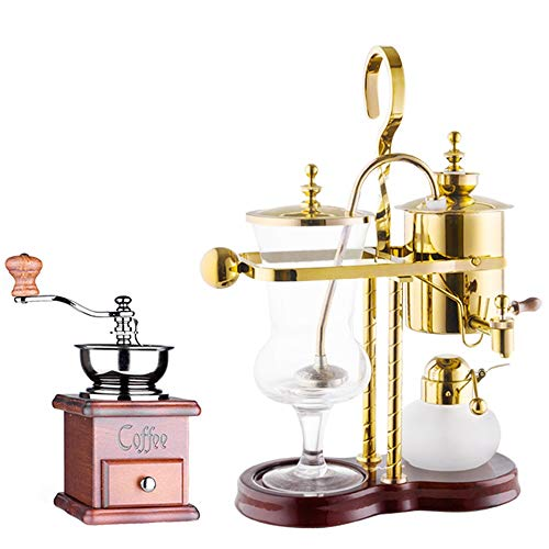 TGhosts Siphon Coffee Maker, Household Coffee Pot Royal Coffee Pot Manual Coffee Machine Brewing Appliance (2 Colors) (Color : Gold, Size : Includes grinder)