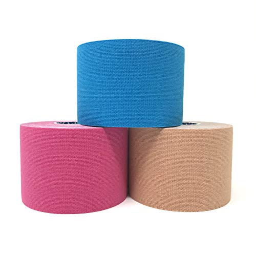 Intock Kinesiology Tape, Original Elastic Therapeutic Athletic Tape for Pros, Injury Recovery, Pain Relief; Water Resistant Sports Tape; 16.4 Feet x 3 Rolls Multi-Color Uncut Latex Free Kinesio Tape