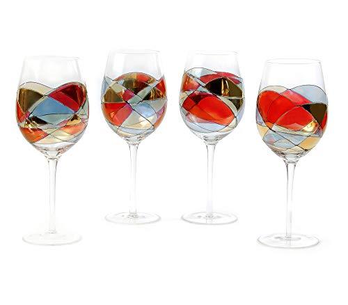 ANTONI BARCELONA Large Wine Glasses Set of 1 (29 Oz) - Handblown & Handmade, Painted Red Wine Glass,...