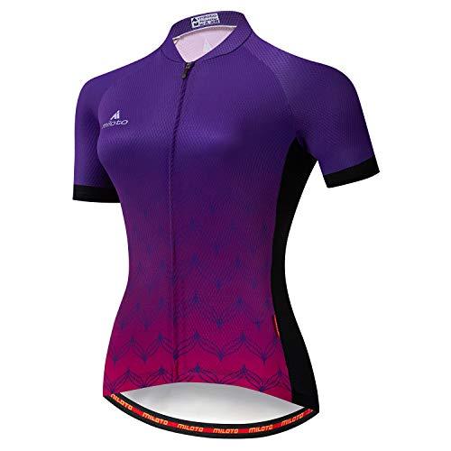 Miloto, Damen-Fahrradtrikot, kurzärmlig, reflektierend - mehrfarbig - XXL (Brust = 106 cm)