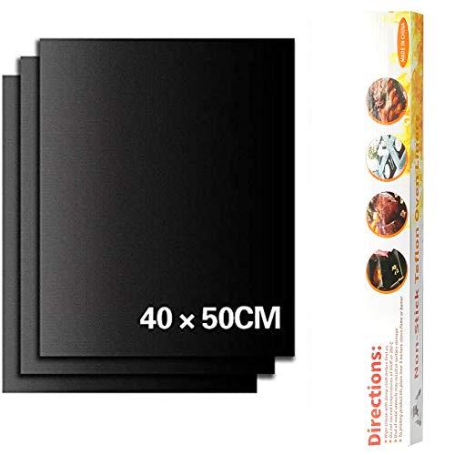 Ealicere 3 Stück 40 x 50 cm Schwarz BBQ Grillmatte Backpapier,Wiederverwendbare Backmatten,antihaftbeschichtet für Holzkohlegrill, elektronischen Grill, Backofen