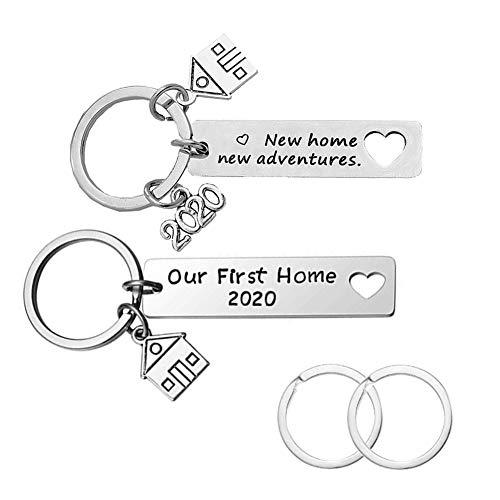 CNYMANY 2 Piezas Nuevo hogar Llaveros, Regalo de inauguración de la casa Nueva 2020 Decoración Joyas Llaveros para el Nuevo Propietario de la casa Esposa Amante del Esposo