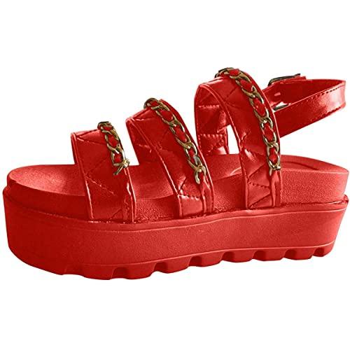 CHLDDHC Sandalias De Corcho Sandalias De Plataforma Antideslizantes para Mujer Zapatos De Verano Sandalias De Tacón Alto con Correas De Tobillo