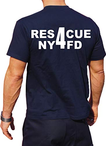 Feuer1 T-shirt fonctionnel Navy avec protection UV 30+, NYFD (Rescue 4) Queens XL bleu marine