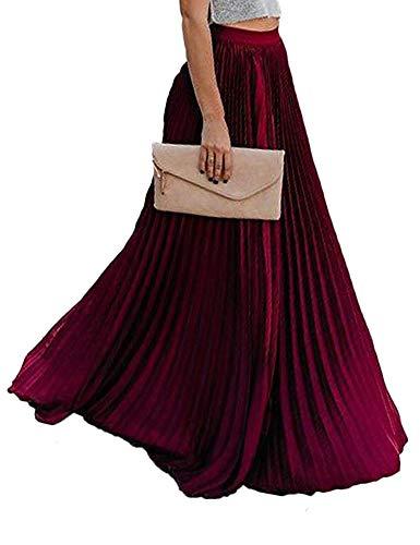 FRECOCCIALO Falda Plisada Mujer de Moda Larga Cintura Elástica Alta Eleganete Falda Maxi en Color Liso Falda Vintage (Burdeos, XL)