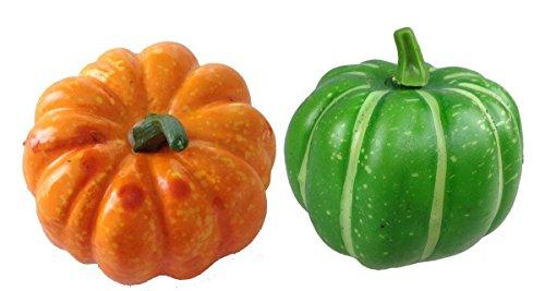 Unbekannt Deko Mini Kürbis 2 Stück orange und grün Kunstobst Kunstgemüse künstliches Obst Gemüse Dekoration