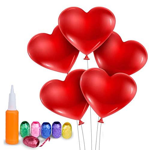 Wolintek [100 Stück] Rot Luftballons Herzluftballons, Herz Ballons Mit Pumpe Dekorationen Für Party, Hochzeit, Valentinstag