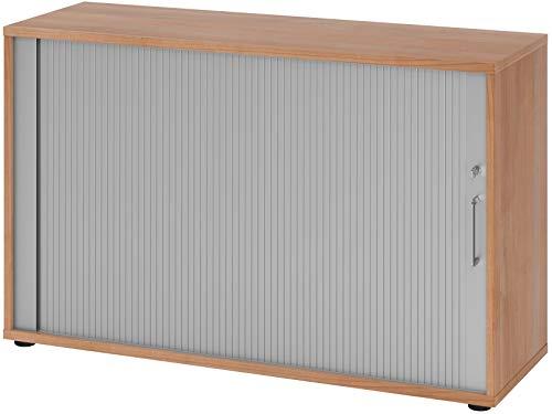 bümö® Aktenschrank mit Rollladen | Rollladenschrank für Aktenordner | Büroschrank für Akten | Büromöbel | Rolladenschrank in 6 Farben & 2 Höhen (nussbaum/Silber, Höhe: 74 cm)