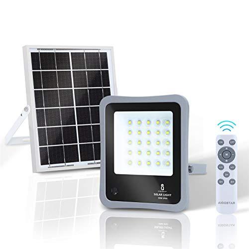 Aigostar - Foco proyector LED solar con mando a distancia, 30W, 6500K luz blanca. Resistente al agua IP65. Perfectos para exterior jardín, patios, caminos o garajes