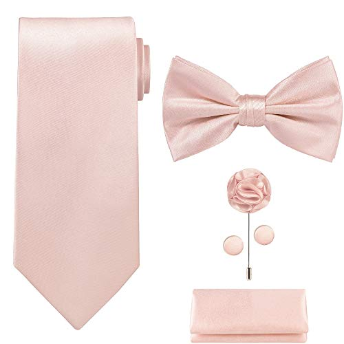 TIE G 5pcs Tie Set in Gift Box : Solid Color Necktie, Satin Bow Tie, Pocket Square, Lapel, Cuff Links (Blush Pink)