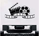 Home Theater Wall Sticker Movie Studio Room Decoration Movie Play Vinyl Wall Decal Cinema Movie Projector Wall Poster 57x32cm
