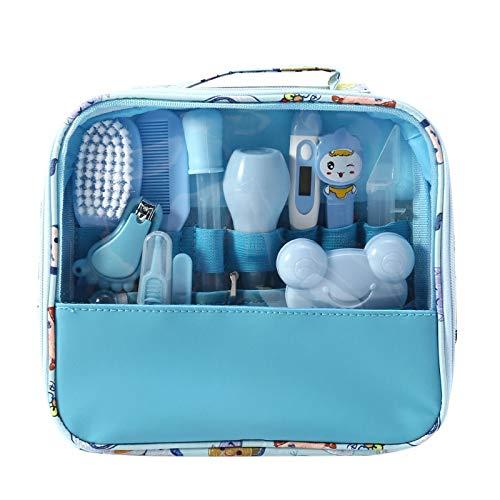 Kit de cuidado de bebé Moonvvin 13pcs / set Conjunto de aseo para recién nacidos Accesorios esenciales para el cuidado de la salud para viajes en el hogar Uso con bolsa de transporte (azul)