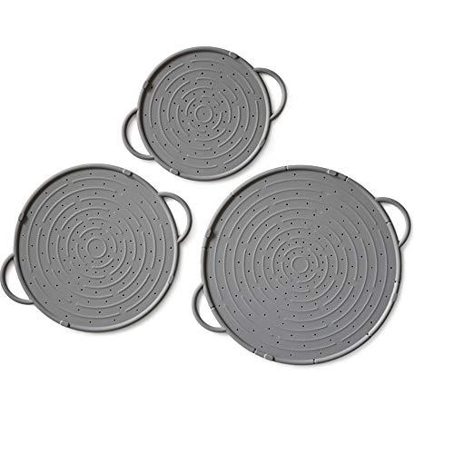 Coolinato Spritzschutz Silikon 3er Set, Überkochschutz für Pfannen und Töpfe, Untersetzer 20-30 cm, grau
