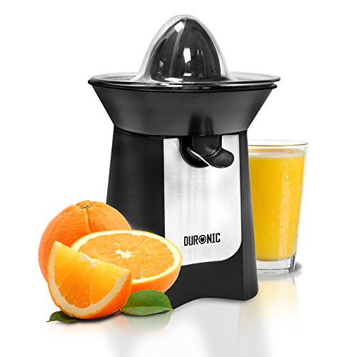 Duronic Citrus Juicer JE6 BK   Electric Juice Extractor   Powerful 100W   Black and Stainless-Steel   2 Cone Sizes   Dripless Spout   Squeezes and Presses Different Sized Fruits: Oranges, Lemons...