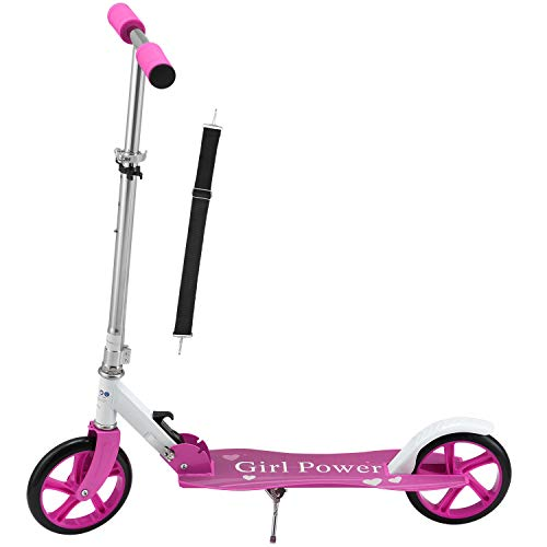 ArtSport Scooter Cityroller Mädchen Big Wheel 205mm Räder klappbar höhenverstellbar – Kinder-Roller ab 3 Jahre - Tretroller bis 100kg – pink