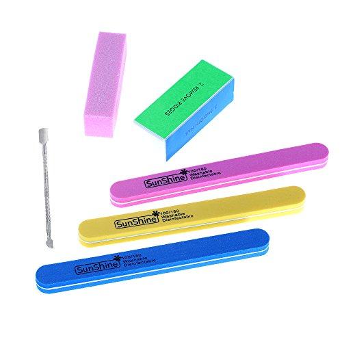 Anself 6Pcs Nail Art Levigatura di file Buffer Set Sponge Lucidatura Block Kit Manicure Pedicure Tool