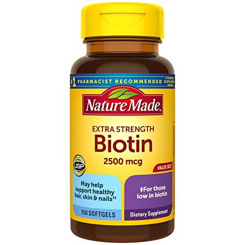Nature Made Biotin 2500 mcg Softgels 150 Ct, Support Healthy Hair, Skin, Nails† (Packaging May Vary)