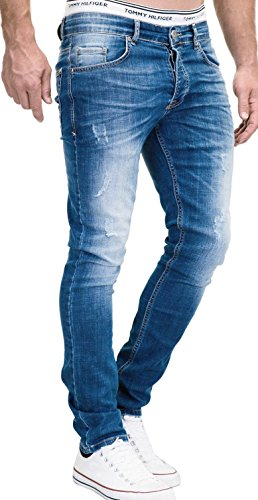 MERISH Jeans Herren Slim Fit Jeanshose Stretch Designer Hose Denim 501 (34-30, 501-2 Mittelblau)