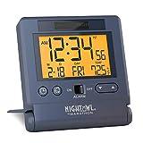 MARATHON CL030036BL Atomic Travel Alarm Clock with Auto Night Light Feature in Blue