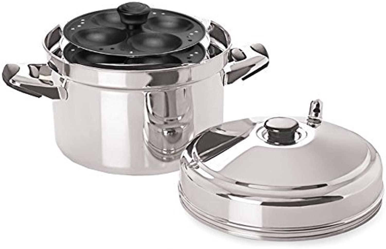 Tabakh IC-215 Stainless Steel Cooker with Non-Stick 5-Rack Idly Stand, Makes 20, Silver