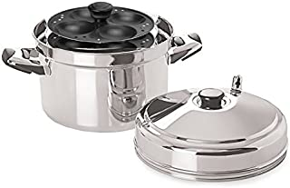 Tabakh IC-214 Cooker with Non-Stick 4-Rack Idly Stand, Makes 16, Stainless Steel (Renewed)