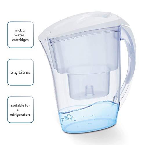 Xavax Tisch-Wasserfilter inkl. 2 Filterkartuschen, 2,4 l, Wasserfilterkanne zum Filtern von Leitungswasser, Wasserentkalker für Wasserkocher, Kaffeemaschine, Bügeleisen, Trinkwasser-Filterkanne