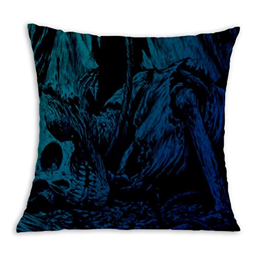 Cool Flaming Skull Comfortable Pillowcase Home Decoration Garden Cushion Cover Square Inside and Outside