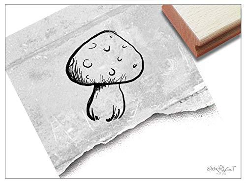Stempel Motivstempel PILZ Fliegenpilz - Bildstempel für Basteln Karten Tischdeko Kunst Scrapbook Herbst-Deko Geschenk für Kinder- zAcheR-fineT