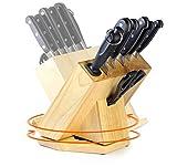 CS Kochsysteme 056940 - Bloque para cuchillos (8 piezas, acero inoxidable, 38 x 28,3 x 39,4 cm), color negro
