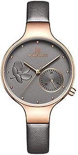 ساعة يد انالوج بمينا رمادي وحزام من جلد اصلي للنساء من نافي فورس- NF5001-RGGYGY