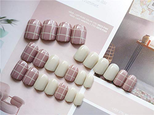 CLOAAE Fashionable solid color with exquisite lattice pattern fake nails short size bride fake nails cute full nail tips