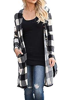 LACOZY Women s Open Front Long Sleeve Knit Cardigan Draped Snap Buffalo Plaid Shirt Kimono Cardigan Sweater Black White Large 12/14