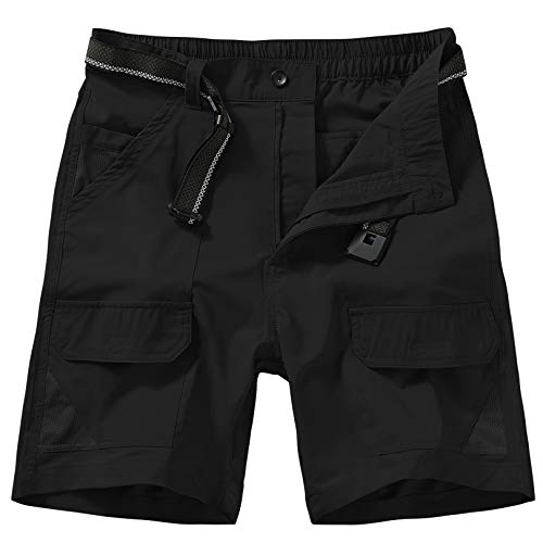 Jessie Kidden Men's Outdoor Sport Casual Elastic Waist Lightweight Water Resistant Quick Dry Cargo Fishing Hiking Shorts (6018 Black 38)