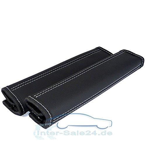 L & P Car Design GmbH 2 stuks riembeschermers riembekleding schouderkussen echt leer echt leer schouderbeschermers beschermer kussen riem schouder 2 stuks zwart met grijze naad