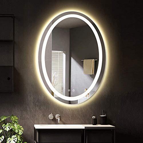 LUVODI Badezimmerspiegel mit LED Beleuchtung Wandspiegel Lichtspiegel oval Design Anti-Nebel-Funktion Kosmetikspiegel 50x70cm IP44 energiesparend