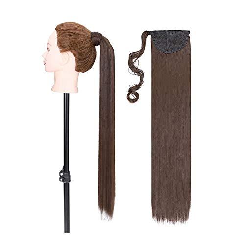 Pferdeschwanz Haarverlängerung Extensions Clip in Pferdeschwanz Zopf Haarteil Natürlich Ponytail Super Lang 81cm Glatt Mittel braun