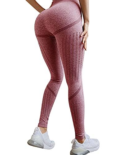 Voqeen Leggings Donna Fitness Pantaloni Sportivi a Vita Alta Yoga Shorts Leggins Elasticizzati Corsa Yoga Fitness Palestra Jogger Sport Allenamento Pantaloni da Corsa Push Up Crossfit(rosso,M)
