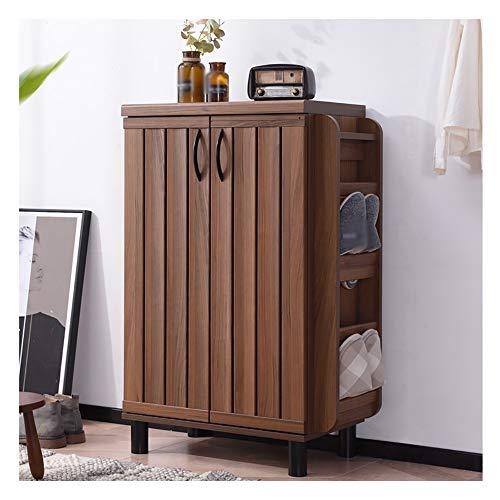 SLTO - Zapatero de madera con 3 compartimentos (60 cm), color marrón