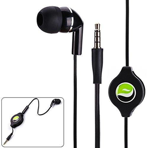 Premium Black Retractable Mono Headset Single Earbud Earphone Mic for Samsung Galaxy J1 J3 J5 J7, Grand Prime - LG Volt 2, Tribute 2, Escape 2 - ZTE Overture 2, ZMAX, ZMAX+, Nubia Z9 - ASUS Zenfone, 2