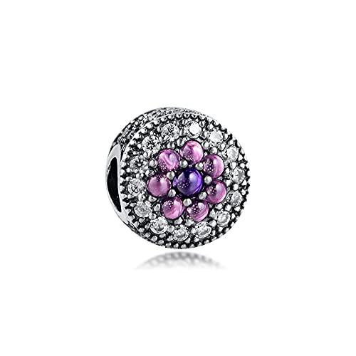 LILANG Pulsera de joyería Pandora 925, Ajuste Natural para Collares, Cuentas Florales deslumbrantes Brillantes, Encanto de Plata esterlina para Mujeres, Regalos DIY