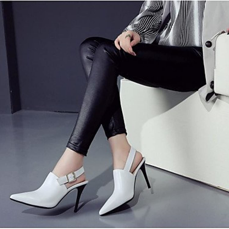LvYuan-GGX Damen High Heels Komfort PU Frühling Lässig Stöckelabsatz Weiß Weiß Weiß Schwarz 10-12 cm, Weiß, us5.5   eu36   uk3.5   cn35  673b38