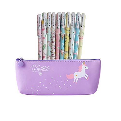 Unicorno Penne,Southstar 10 Unicorno Penne di Colori e 1 Astuccio per Matita Unicorno per Amanti dei Fenicotteri e Degli Unicorno, un Ottimo Regalo x una Bambina