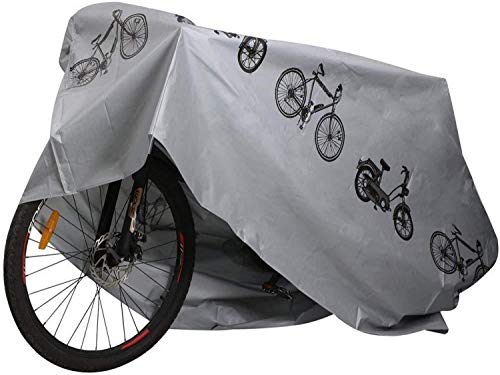 TBBA Bike Waterproof Cover Outdoor Bicycle Covers, Rain Sun UV Dust Wind Proof for Mountain Road Electric Bike, One Size, Silver,4pcs