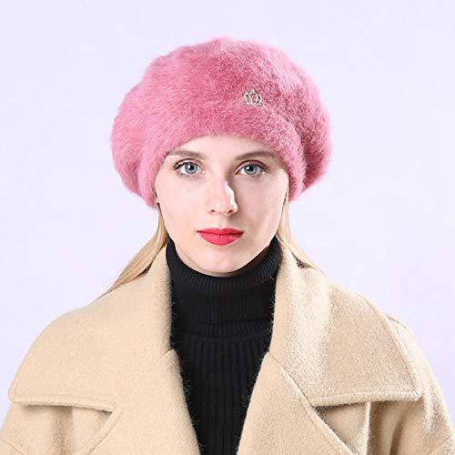 Herbst Winter Wolle warme Baskenmütze Dame Maler süße Strick sowie Samt Krone Kaninchen Pelzmütze Pink