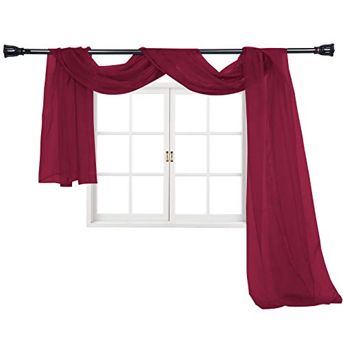 """Imperium Comfort Window Scarf 54"""" W x 144"""" Long Sheer Solid Curtain Voile Scarf Swag Valance Drapes for Window, Bedroom, Living Room, Kitchen (1 Scarf: 54W Inch x 144L Inch, Burgundy)"""