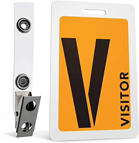 Visitor Badges with Clips (Orange) 5-Piece Set for ID and Safety by MESS