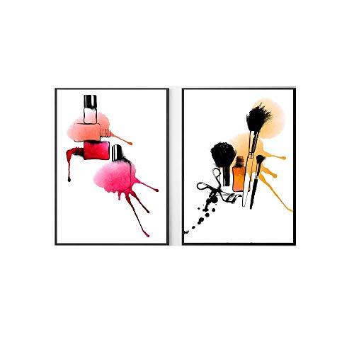 Moda Poster Colorido Lienzo Pared Arte Maquillaje Cepillo Cuadros HD Impreso UñAs Polaco Pintura NóRdico Vogue Sala SalóN Decoracion 40x60cmx2 No Marco