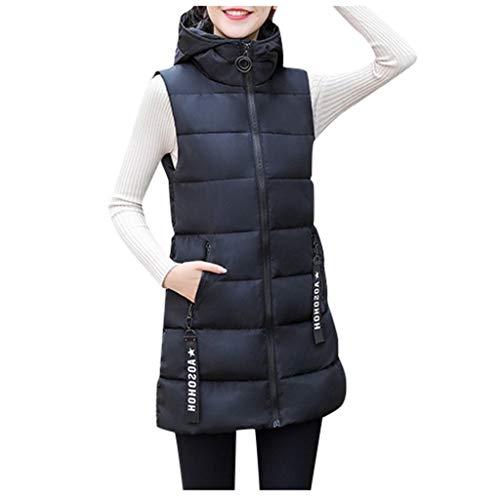 Reooly Chaqueta de Moda para Mujer Chaqueta sin Mangas con Capucha Algodón Color sólido Cremallera Bolsillo Cuello Alto(Negro,Large)